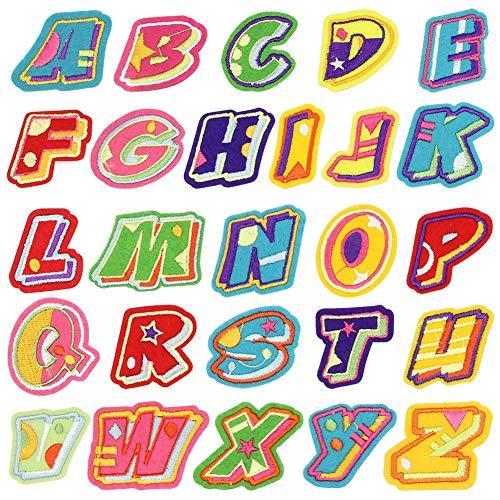 Buchstabenaufnäher - 26 Buchstaben Applikation Patch, DIY bestickte Buchstabenflicken, Bügelflicken Applikation, Jacke, Kleidungstasche DIY (Buchstaben-patches Ein)