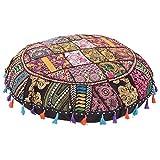 Ganesham artigianato indiano fatto a mano vintage patchwork cotone boho chic Boemia ricamato a mano decorativo etnico poggiapiedi cuscini & cuscino da pavimento rotondo Seating pouf ottomano (81,3cm di diametro)
