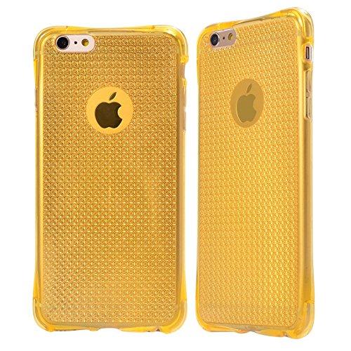 iPhone 6/6S stoßfest Fall, iPhone 6/6S Plus Crystal Case Bumper [umfassende Schutz] Air Cushion Technology Ecken + Soft Slim Transparent TPU Fall mit einzigartigem körnige Stoßdämpfung Design Schutzhü gold
