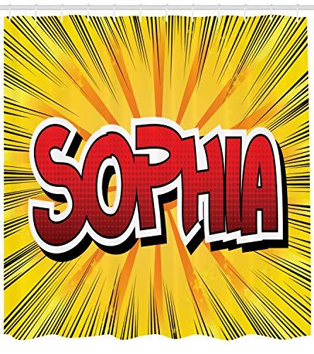 ABAKUHAUS Sophia Duschvorhang, Retro Comic westlichen Namen, mit 12 Ringe Set Wasserdicht Stielvoll Modern Farbfest und Schimmel Resistent, 175x240 cm, Gelb Schwarz und Rot
