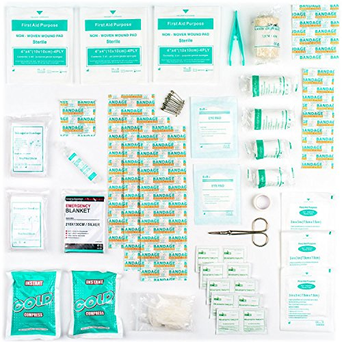 Botiquín de Primeros Auxilios de 90 artículos con Bolsas de Hielo, Solución para Ojos y Manta Isotérmica