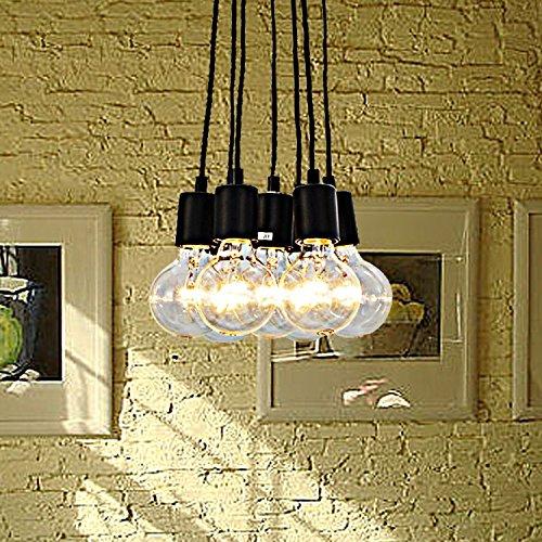 Fuloon Vintage Lámpara de techo Edison Loft iluminación Pendiente de la Lámpara moderna elegante comedor Industrial 7 Luces para Decoración