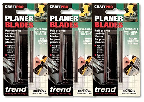 Triple pack of Trend Planer Blade Set x 2 82mm fits Makita Dewalt Bosch - CR/PB29