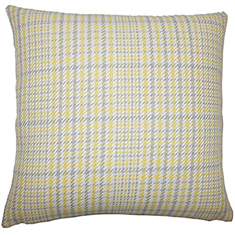 The Pillow Collection KING-D-32796-JONQUIL-C100 Kalle Houndstooth Bedding Sham, King/20