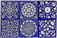 Shiv Kripa Blue Pottery Home Decor Tile Ceramic High Lighter Wall Tiles 4 x 4 Inch Set of 6 Tiles (Blue &