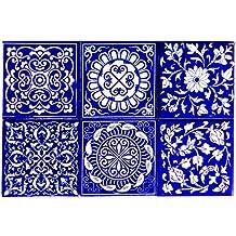 Shiv Kripa Blue Pottery Home Decor Tile Ceramic High Lighter Wall Tiles 4 x 4 Inch Set of 6 Tiles (Blue & White)