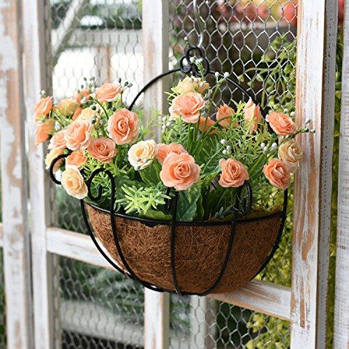 Shop wand Balkon Schlafzimmer Wanddekorationen Bügeleisen Blumenkörbe wand Pflanzen hängende Wand Dekoration aufhängen Kreativ, m weiß Seegras Korb + Erdbeeren lei orange (Orange Lei)