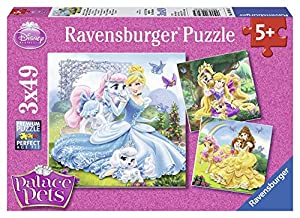 Disney Princesas Puzzles 3 x 49 Piezas, diseño Belle, Cenicienta y Rapunzel (Ravensburger 09346 5)