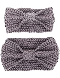 Bohemian estilo mamá y Me invierno calentador diadema bebé tejer cintas para el pelo cabeza calentador Set gris Gris