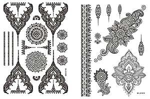 mandala spitze tattoo schwarz 2er set mandala armb nder schmuck tattoo orient tattoo zum kleben. Black Bedroom Furniture Sets. Home Design Ideas