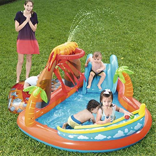 ZXL Kiddie Pools Aufblasbare Baby Schwimmen Pool Vulkan Planschbecken Aufblasbare Wasserpool für Kinder 265 * 265 * 104 cm