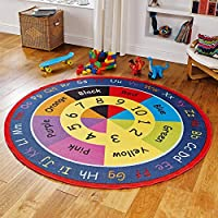 Nursery ABC Educational Learning Round Rugs For School Classrooms, Childrens Nurseries and Play Areas - Bright Large Round Kids Alphabet Rug