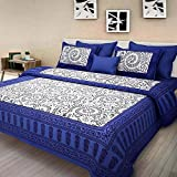 #6: jaipuri bedsheet Cotton 100% blue Color Jaipuri 90x108 King Size Double Bed Sheet With 2 Pillow Cover…