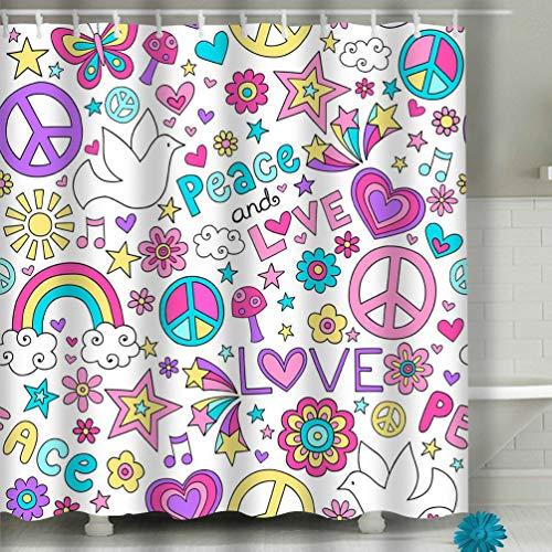 908iop 980 Beach Shower Curtain Peace Love Dove Pattern Notebook Doodles Geometric Fabric Bathroom Decor 60 X 72 inch