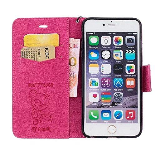 Etsue iPhone 6 Plus /6S Plus 5.5 Cover,iPhone 6 Plus /6S Plus 5.5 Custodia in Pelle Portafoglio Lusso Style Vintage Campanula Modello Artificiale Leather Pu Puro Wallet/Libro/Flip Antigraffio Bumper P *Rose Rosso*Pelle