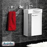 Fackelmann SCENO Badmöbel Set Gäste-WC Farbe Weiß/Pinie-Anthrazit-Optik (3-teilig) - Waschbecken rechts mit Armatur