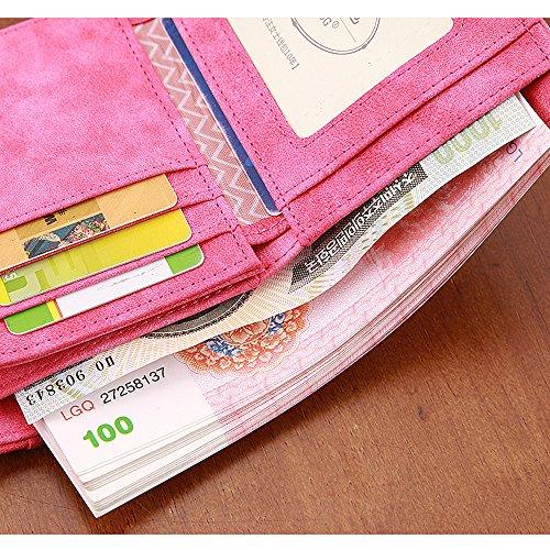 Artemis'Iris Donne sveglie Compact mini raccoglitore Trifold Nubuck frizione Carte Denaro Cambio dell'organizzatore del supporto a breve tasca borsa, blu black