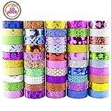 Washi Tape, Buluri 50 Rollos Cinta Adhesiva Washi Glitter Adhesivo de Cinta Decorativa para Scrapbooking DIY Crafts