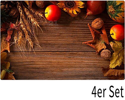 matches21 Tischsets Platzsets Motiv Herbst Getreide & Obst auf Holz 4er Set Kunststoff je 43,5x28,5 cm abwaschbar & Antirutsch