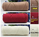 #9: New Special Skincare 4ply Cotton Velvet Silk Yarn for Hand Knitting/Crochet Baby clothing, Scarf, Coat, Sweater and much more etc… Soft Yarn 150 grams (3 balls Combo pack - ROSEWOOD RED 50 Grams+ KHAKI 50 Grams + CREAM WHITE 50Grams) Introductory Offer.(10,18,21)