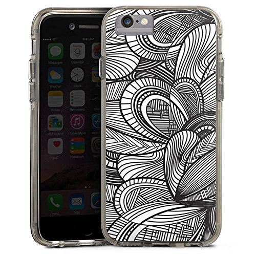 Apple iPhone 8 Bumper Hülle Bumper Case Glitzer Hülle Leaves Blaetter Black White Bumper Case transparent grau