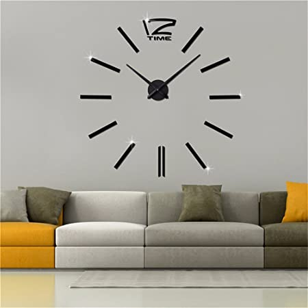 Wall clockwall stickers clocks diy clocks european style living room art wall charts 20 inches vertical bar 12 black amazon co uk kitchen home