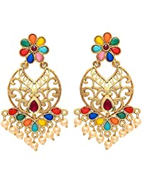 Geode Delight Multi Color Stone Gold Plated Earring Set For Woman And Girls