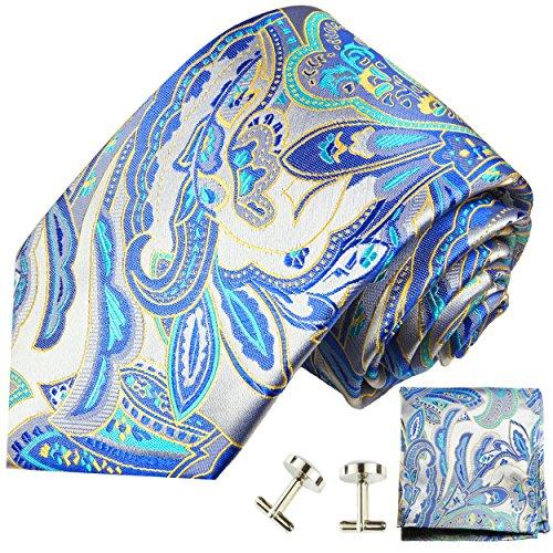 Cravate homme bleu paisley ensemble de cravate 3 Pièces ( longueur 165cm )