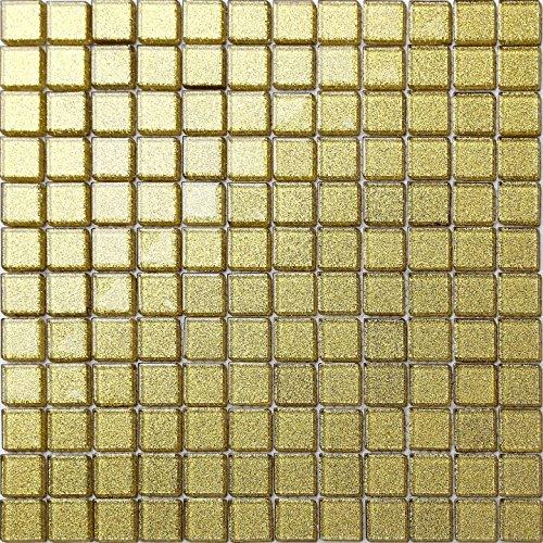 30cm x 30cm Champagne Gold Glitter Glass Mosaic Tiles Sheet (MT0080)