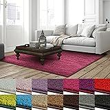 casa pura Shaggy Teppich Barcelona   weicher Hochflor Teppich für Wohnzimmer, Schlafzimmer, Kinderzimmer   GUT-Siegel & Blauer Engel Größen   80x150 cm   Pink