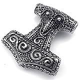 Mendino Herren Halskette mit Anhänger Wikinger Odin Thors Hammer Mjölnir schwarz silber Edelstahl