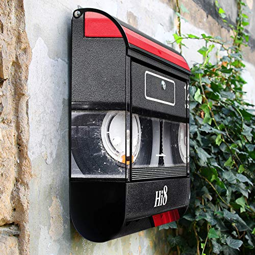 BANJADO Design Briefkasten schwarz | 38x47x13cm groß mit Zeitungsfach | Stahl pulverbeschichtet | Wandbriefkasten mit Motiv Video Kassette | mit silbernem Standfuß - 2