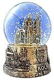 Schneekugel Kölner Dom gold mittel 6,5 cm