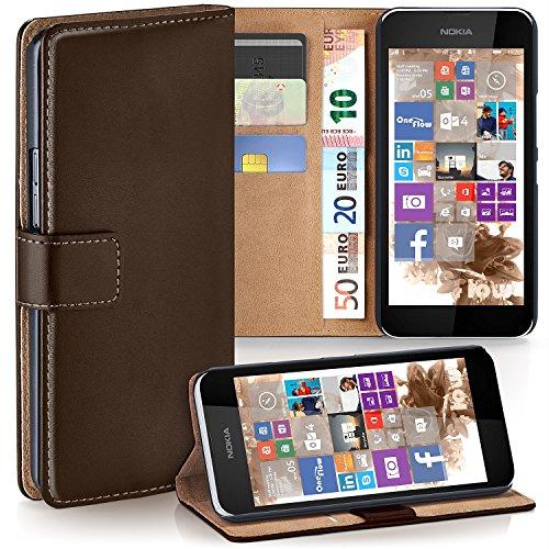 moex Nokia Lumia 530 | Hülle Dunkel-Braun mit Karten-Fach 360° Book Klapp-Hülle Handytasche Kunst-Leder Handyhülle für Nokia Lumia 530 Dual SIM Case Flip Cover Schutzhülle Tasche