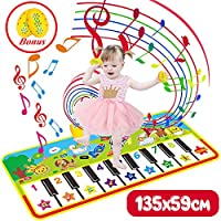 Vykor Music Mat for Children Music Dance Mat Piano Mat Large 135*59cm Music Playmat,Touch Play Keyboard Musical Carpet Music Mat for Babies,Educational Musical Toys for Toddlers,Music Gifts for Kids