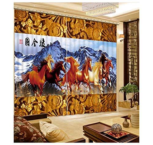nge Pferd Vorhang 3D Fenster Vorhang Dinosaurier Druck Blackout Für Wohnzimmer 215X260Cm ()