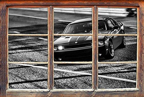 Monocrome, elegante schwarze Dodge Challenger Fenster im 3D-Look, Wand- oder Türaufkleber Format: 92x62cm, Wandsticker, Wandtattoo, Wanddekoration