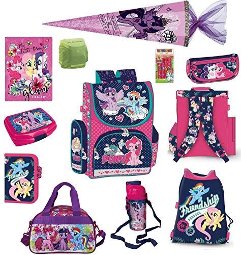Familando My little Pony Schulranzen-Set 16.-tlg. mit Schultüte 85cm, Sporttasche, Regenschutz und Federmappe Einhorn Regenbogen