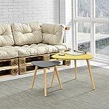 [en.casa]® Tavolino da salotto nobile in un set di 2 - color senape e grigio - gambe del tavolo do legno massello - faggio immagine