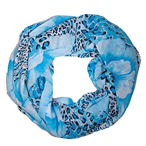 Tuch Leopard (MANUMAR Loop-Schal für Damen   Hals-Tuch in blau mit Leoparden Motiv als perfektes Frühling Sommer Accessoire   Schlauchschal   Damen-Schal   Rundschal   Geschenkidee für Frauen und Mädchen)