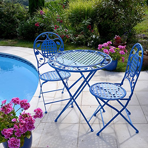 bistro set azure blue table and chairs patio shabby chic style garden furniture outdoor. Black Bedroom Furniture Sets. Home Design Ideas