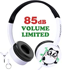 Kinder Kopfhörer Süßer Panda Ohrhörer mit Laustärkebegrenzung Verstellbares Kindgerechtes Headset für iPod iPad iPhone Smartphones Android Handy Tablet PC MP3 MP4 Player