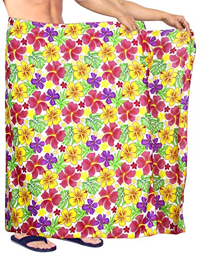 Tropical Camp-shirt (LA LEELA hawaiische Strand Sarong Pareo Badetuch Männer Casual Wrap Blumen Hibiskus gedruckt Rosa_Y570 78