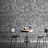 ADDFLOWER Retro Grey Tile Mosaic Brick Lattice Wallpaper Living Room Ristorante Negozio di abbigliamento Barber Shop Industrial Wind Wallpaper, B