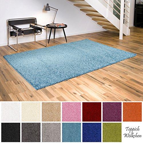 Shaggy-Teppich   Flauschige Hochflor Teppiche fürs Wohnzimmer, Esszimmer, Schlafzimmer oder Kinderzimmer   einfarbig, schadstoffgeprüft, allergikergeeignet (Türkis, 60x90 cm)