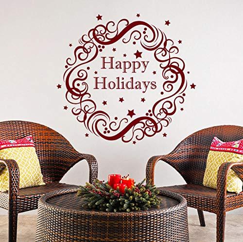 Qzheng Weihnachten Wandtattoo Dekoration Hause Tür Und Fenster Art-Deco-Kunst-Aufkleber Zimmer Abnehmbare Wandbild 58 * 58Cm