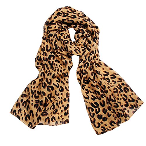 Tuch Leopard (JewelryWe Chiffon Leopard Muster Mocha Schal Halstuch Tuch SOMMERSCHAL Loopschal Damen Geschenk)