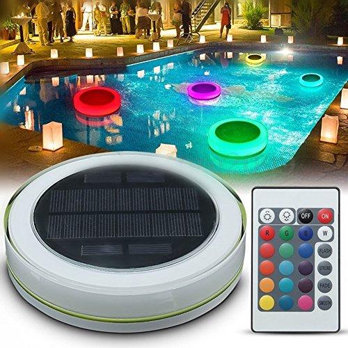 Kaluori RGB IP68 Wasserdicht LED Poolbeleuchtung Unterwasserlicht Solarbetriebene Teich Schwimmender LED-Außenleuchte mit Fernbedienung Multi Farbwechsel