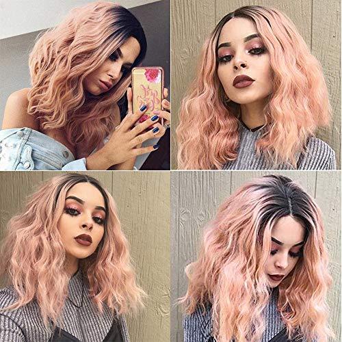 Brasilianisches Verkauf Kostüm Für - Oyedens Mittellanges, Heißes, Kurzes Haar, Lockiges Kurzes Lockiges Haar, Orange-Pink, Frauen-Rosafarbenes Brasilianisches Kurzes Gewelltes Gelocktes Trennungs-Hochtemperaturfaser-Perücke-Haar
