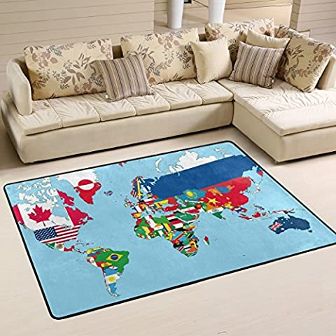 COOSUN The World Map With All States And Their Flags Area Rug Carpet Non-Slip Floor Mat Doormats for Living Room Bedroom 36 x 24 inches